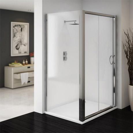 Ventura 1000 x 800mm Sliding Door Shower Enclosure with Pearlstone Tray