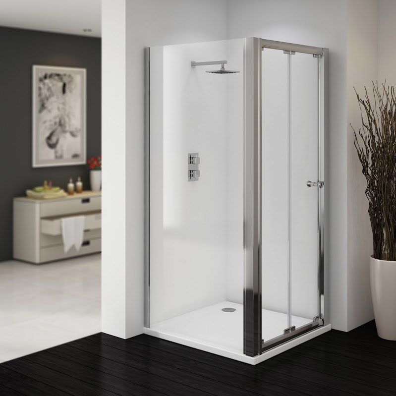 Ventura 760 x 760mm Bi-Folding Shower Enclosure with Pearlstone Tray Large Image