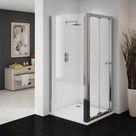 Ventura 760 x 760mm Bi-Folding Shower Enclosure with Pearlstone Tray