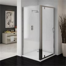 Ventura 900 x 900mm Pivot Door Shower Enclosure with Pearlstone Tray Medium Image