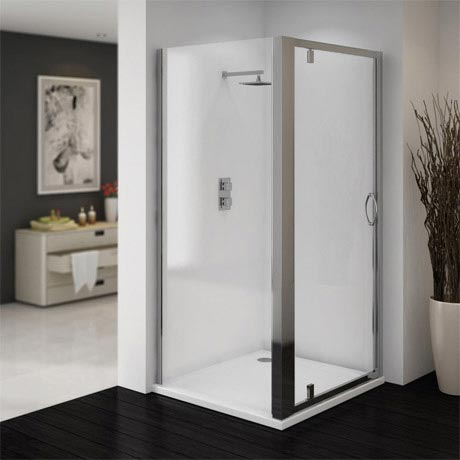 Ventura 900 x 900mm Pivot Door Shower Enclosure with Pearlstone Tray