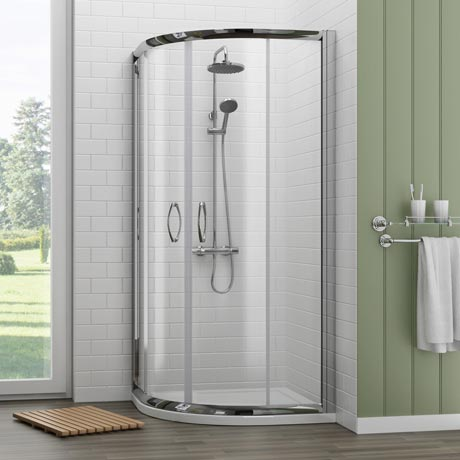 Ventura 900 x 900mm Quadrant Shower Enclosure with Pearlstone Tray