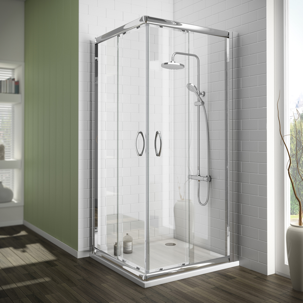 Newark Corner Entry Shower Enclosure With Pearstone Tray