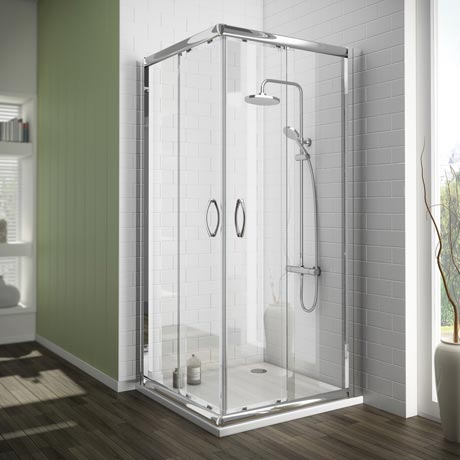 Ventura Corner Entry Shower Enclosure with Pearlstone Tray