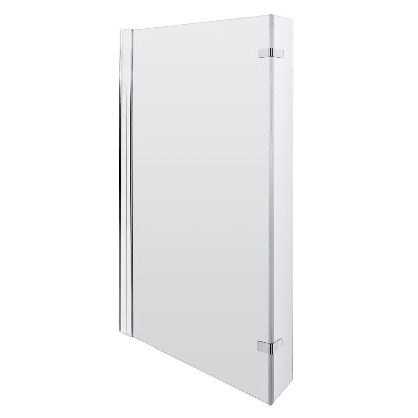 Newark L-Shaped Hinged Bath Screen with Hinged Return (805 x 1400mm) profile large image view 1