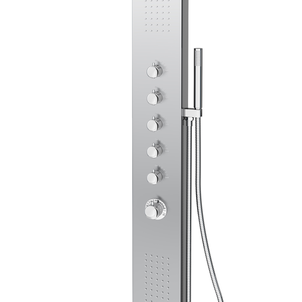 Milan Shower Tower Panel - Stainless Steel (Thermostatic) Standard Large Image