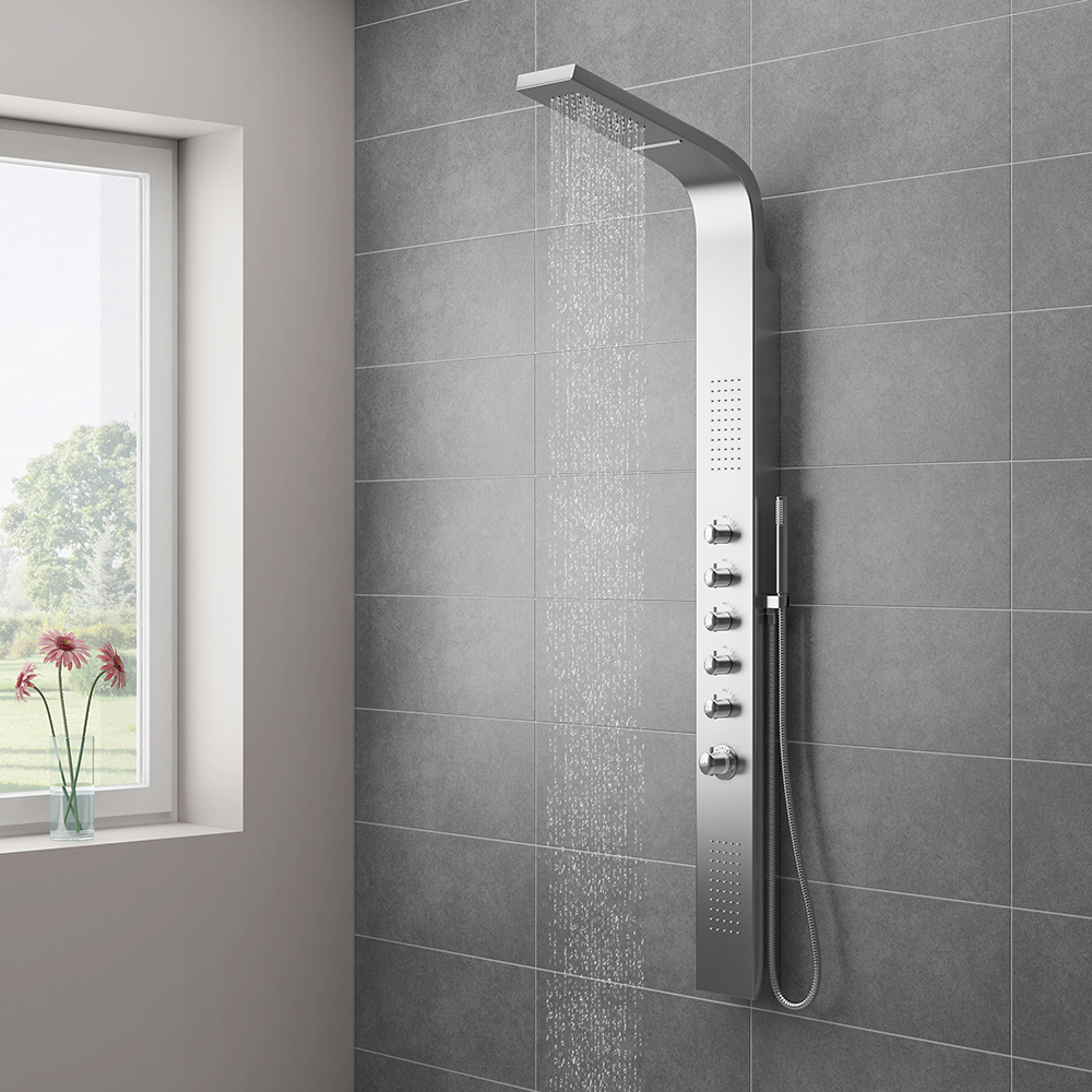 Milan Shower Tower Panel - Stainless Steel (Thermostatic) Large Image