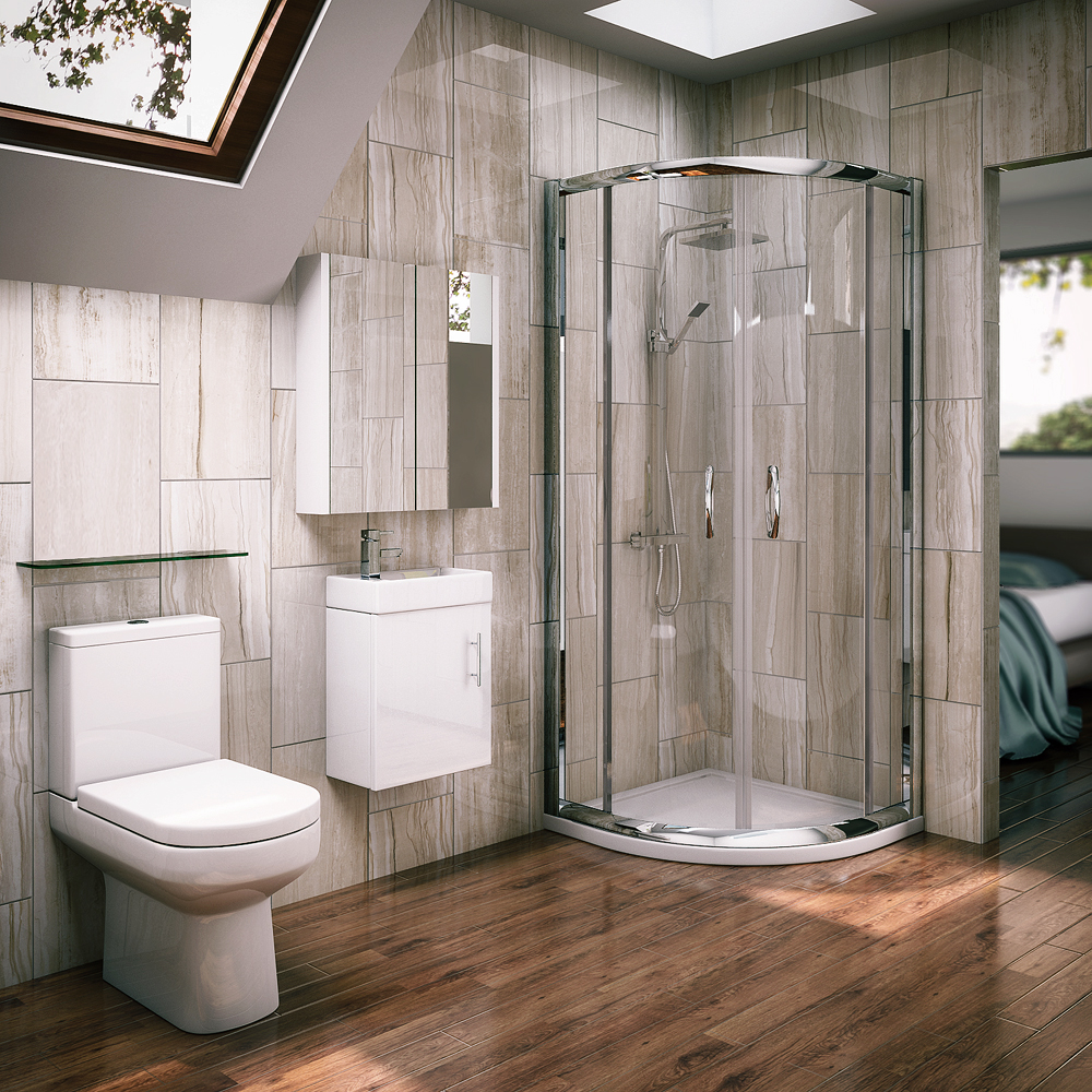 Newark quadrant shower enclosure with en suite set for Bathroom design kit