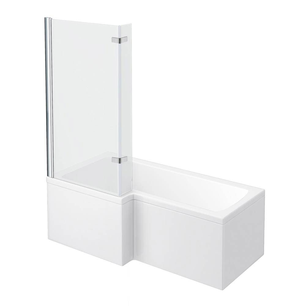 Newark Shower Bath - 1700mm L Shaped with Fixed Screen + Panel profile large image view 1