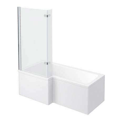 Newark Shower Bath - 1700mm L Shaped with Fixed Screen + Panel