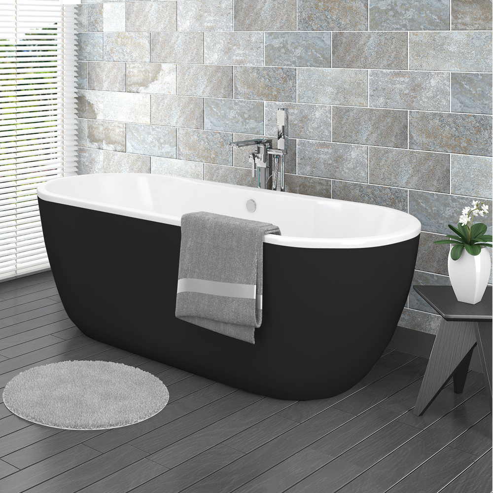 Verona Black Freestanding Modern Bath Medium Image