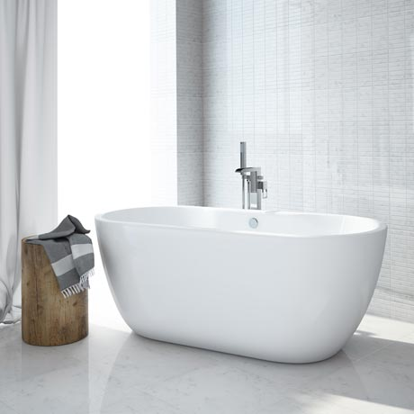 Luxury modern double ended curved freestanding bath at - Freestanding tub in small bathroom ...