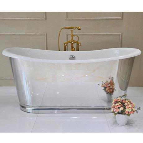 Versailles 1680 x 735mm Roll Top Cast Iron Mirror-Finish Bateau Bath