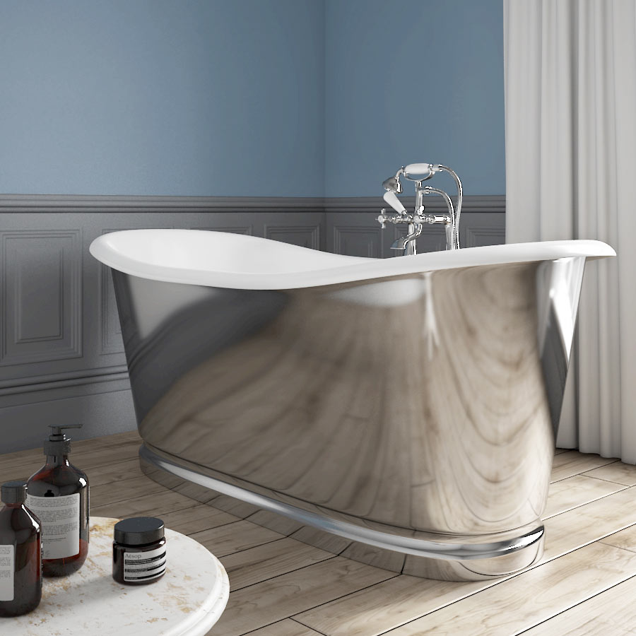 Versailles 1680 x 735mm Roll Top Cast Iron Mirror-Finish Bateau Bath Large Image
