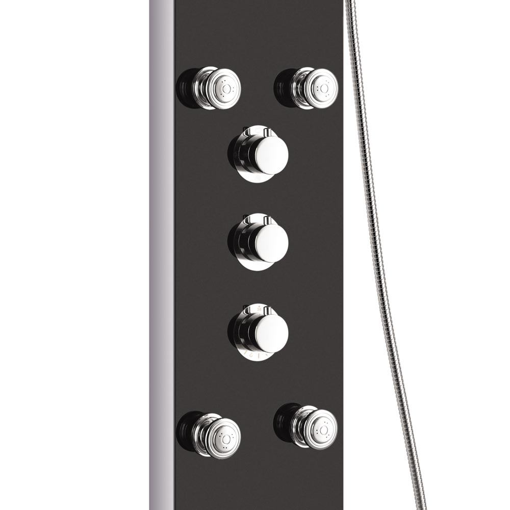Vesta Multi-Function Shower Tower Panel - Stainless Steel & Black Feature Large Image