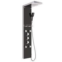 Vesta Multi-Function Shower Tower Panel - Stainless Steel & Black Medium Image