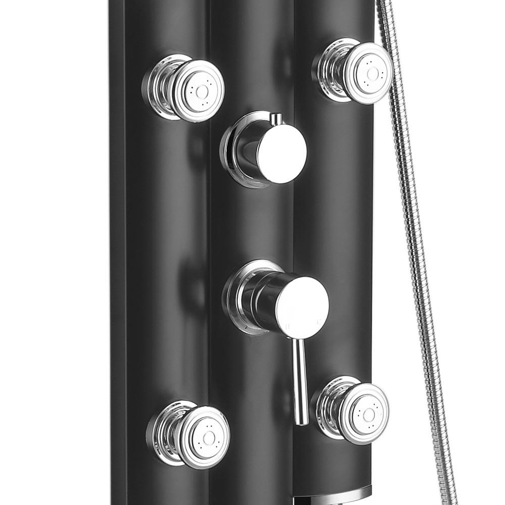 Vesta Round Head Multi-Function Shower Column - Black profile large image view 4