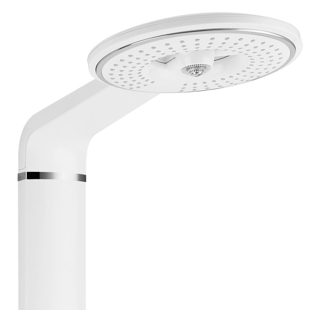 Vesta Round Head Multi-Function Shower Column - White profile large image view 2