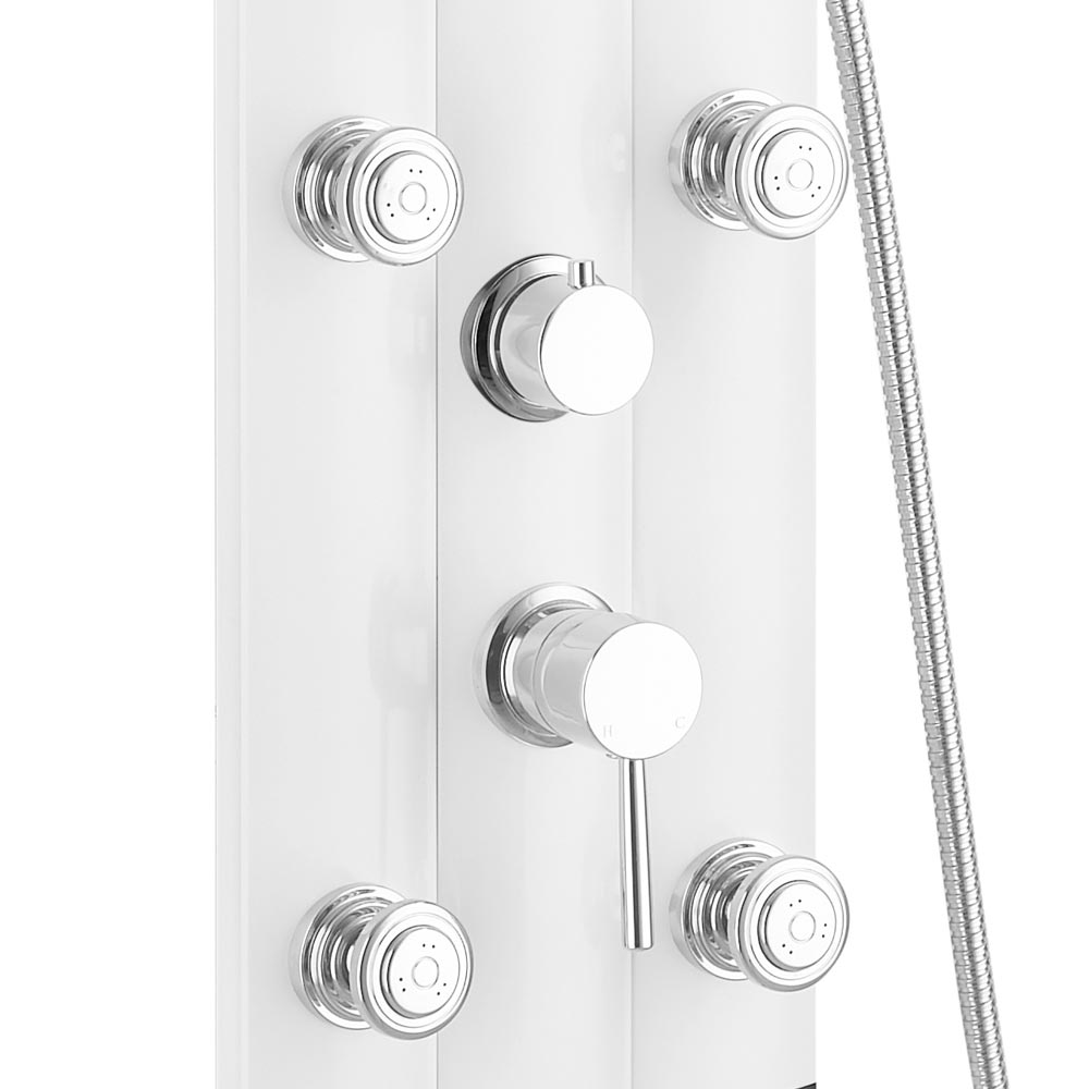 Vesta Round Head Multi-Function Shower Column - White profile large image view 4