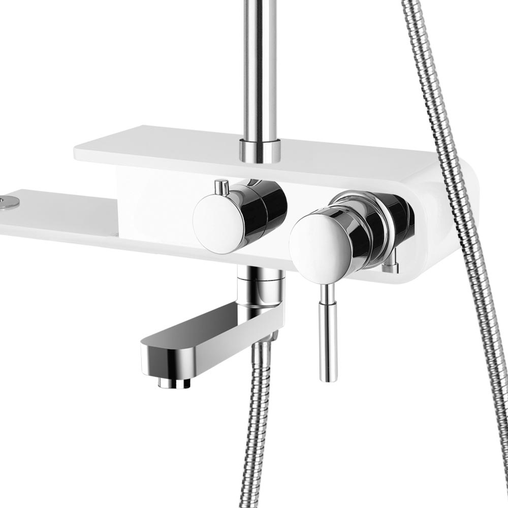 Vesta Shower with Bath Spout and Bluetooth Speaker - Chrome & White profile large image view 3