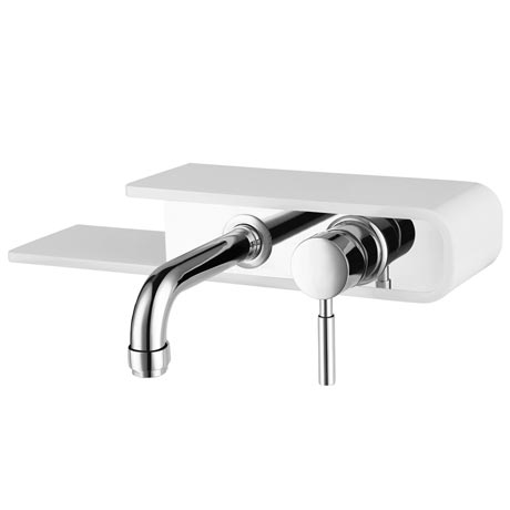 Vesta Wall Mounted Tap with Shelf - Chrome & White
