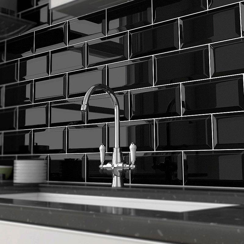 Victoria Metro Wall Tiles - Gloss Black - 20 x 10cm Large Image