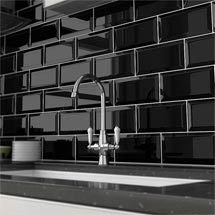 Victoria Metro Wall Tiles - Gloss Black - 20 x 10cm Medium Image