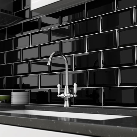 Victoria Metro Wall Tiles - Gloss Black - 20 x 10cm