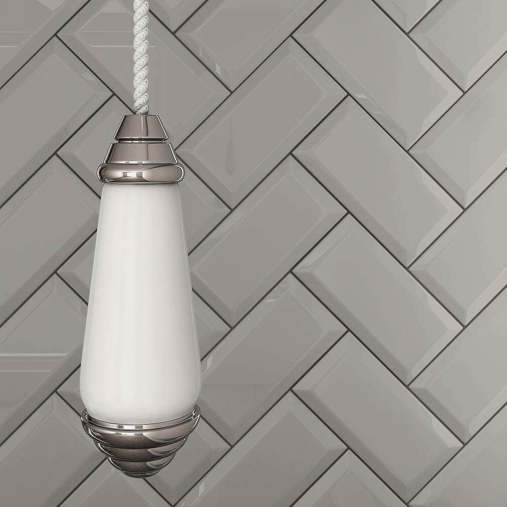 Victoria Metro Wall Tiles - Gloss Light Grey - 20 x 10cm  Feature Large Image