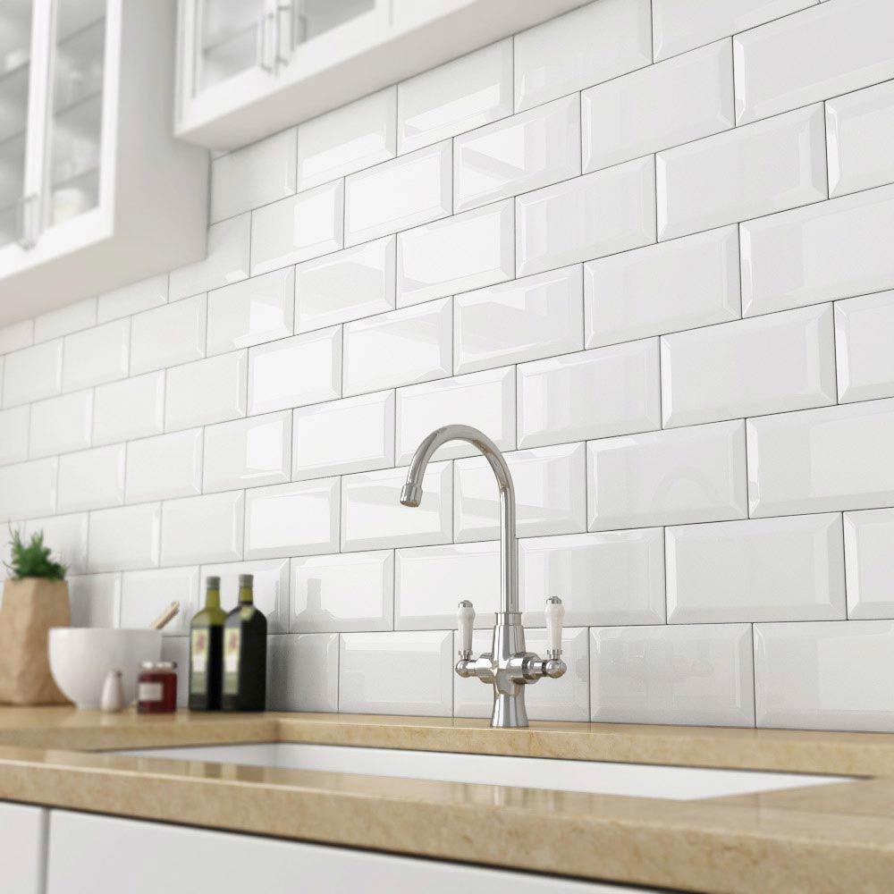 Victoria Metro Wall Tiles - Gloss White - 20 x 10cm Large Image