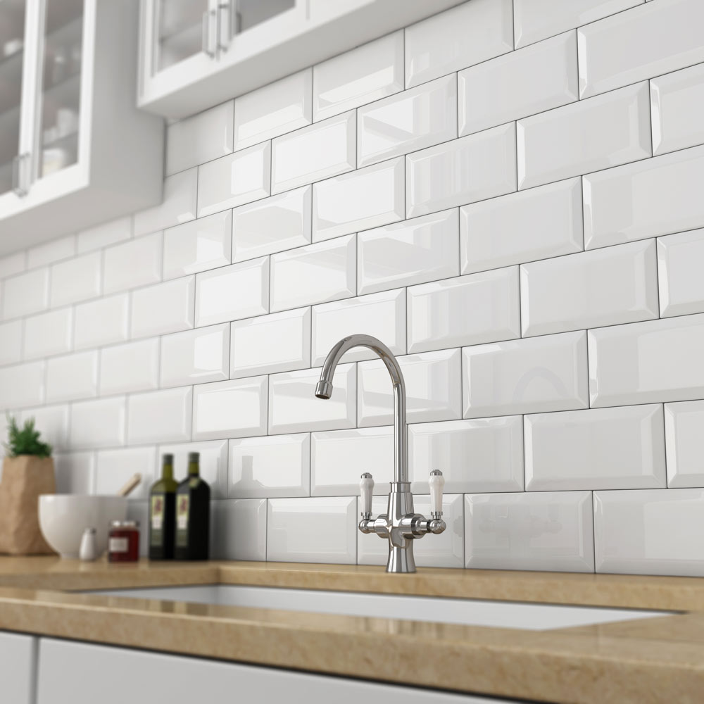 White metro tiles buy metro gloss white tiles victorian for Metro tiles kitchen ideas