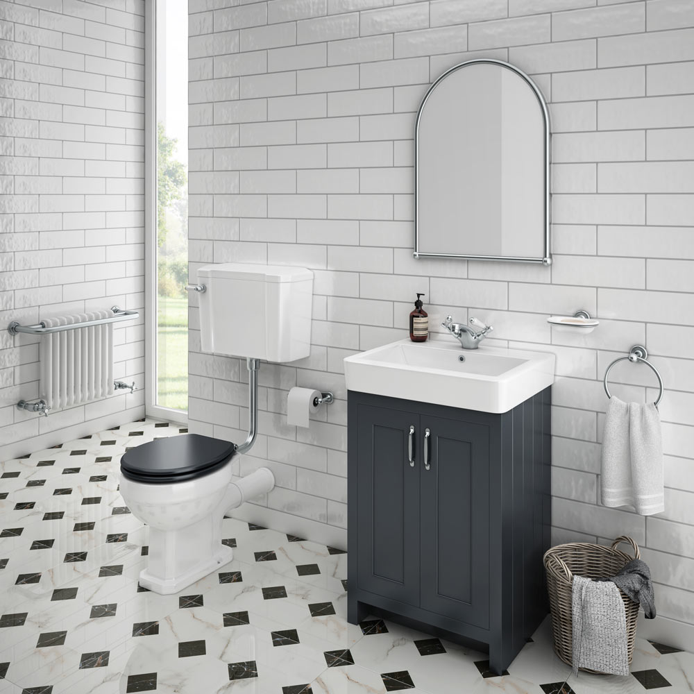 White Marble Bathroom Tile: Victorian Chequered Gloss White Marble Effect Floor Tile