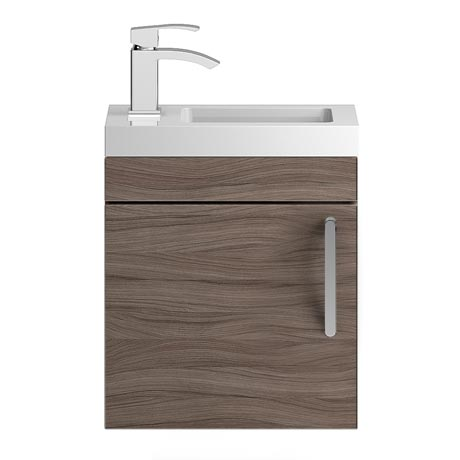 Vienna 400mm Wall Hung Vanity Unit (Driftwood - Depth 255mm)