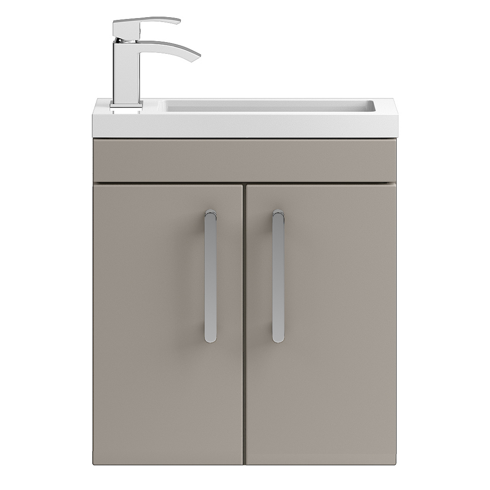 Vienna 500mm Wall Hung Vanity Unit (Stone Grey - Depth 255mm) Large Image