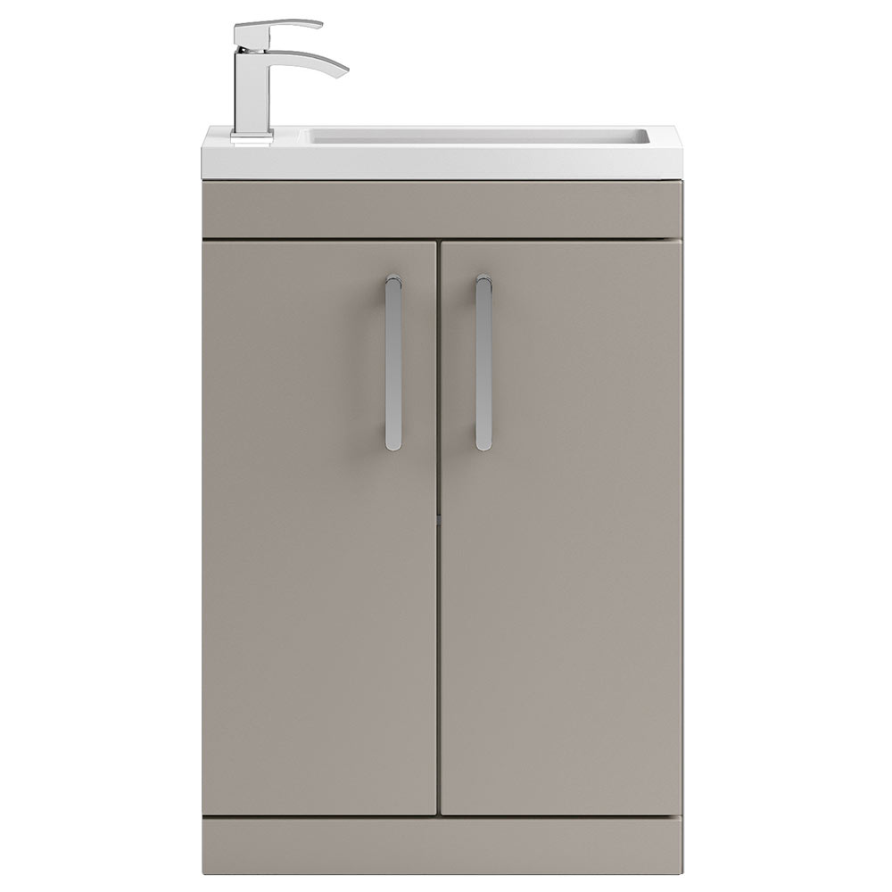 Vienna 600mm Floor Standing Vanity Unit (Stone Grey - Depth 255mm) profile large image view 1