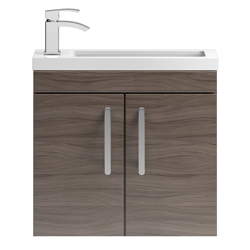Vienna 600mm Wall Hung Vanity Unit (Driftwood - Depth 255mm) Large Image