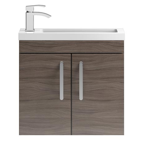 Vienna 600mm Wall Hung Vanity Unit (Driftwood - Depth 255mm)