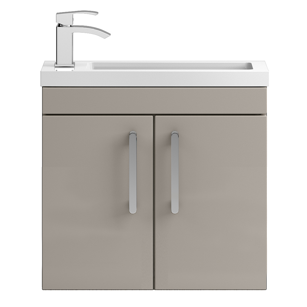Vienna 600mm Wall Hung Vanity Unit (Stone Grey - Depth 255mm) profile large image view 1