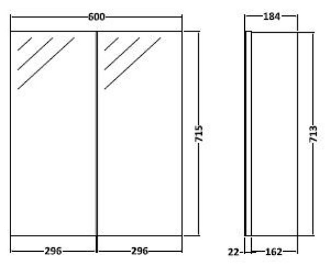 Product Dimensions. Vienna Double Door Stone Grey Mirrored Cabinet   600mm Wide   Online