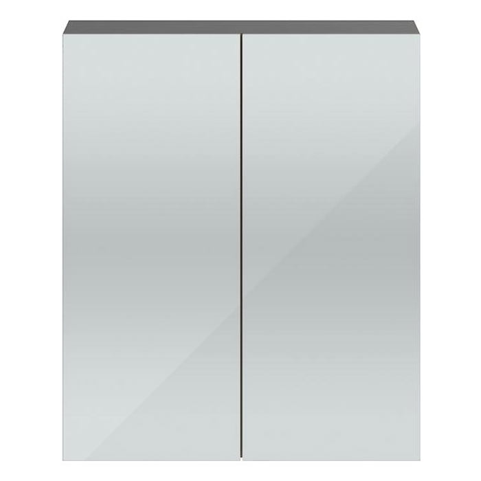 Vienna Double Door Mirrored Cabinet (Stone Grey - 600mm Wide) Large Image