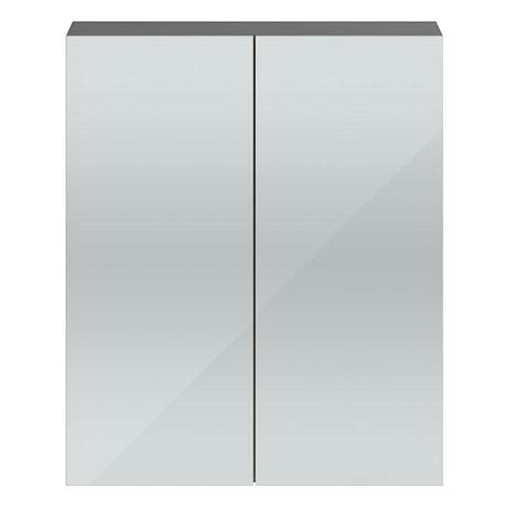 Vienna Double Door Mirrored Cabinet (Stone Grey - 600mm Wide)