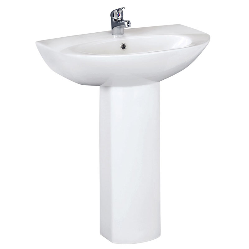 Vienna Modern Basin + Full Pedestal (600mm Wide - 1 Tap Hole) profile large image view 1