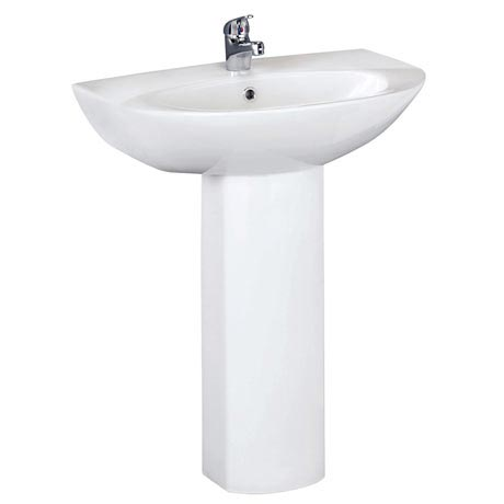 Vienna Modern Basin with Full Pedestal (1 Tap Hole - Various Sizes)