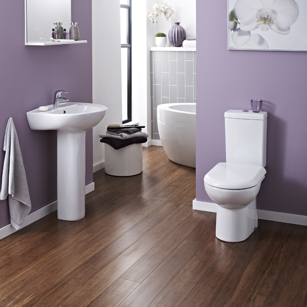 Vienna Short Projection Cloakroom Toilet with Seat profile large image view 2