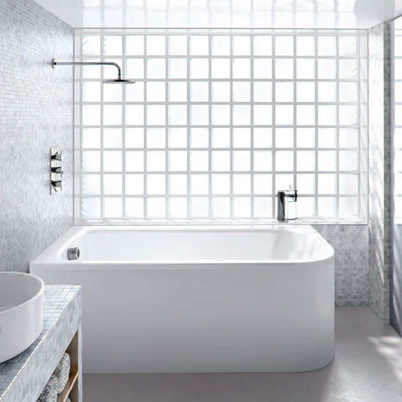 Cleargreen - Viride offset 170cm x 75cm single ended bath with panel Profile Large Image
