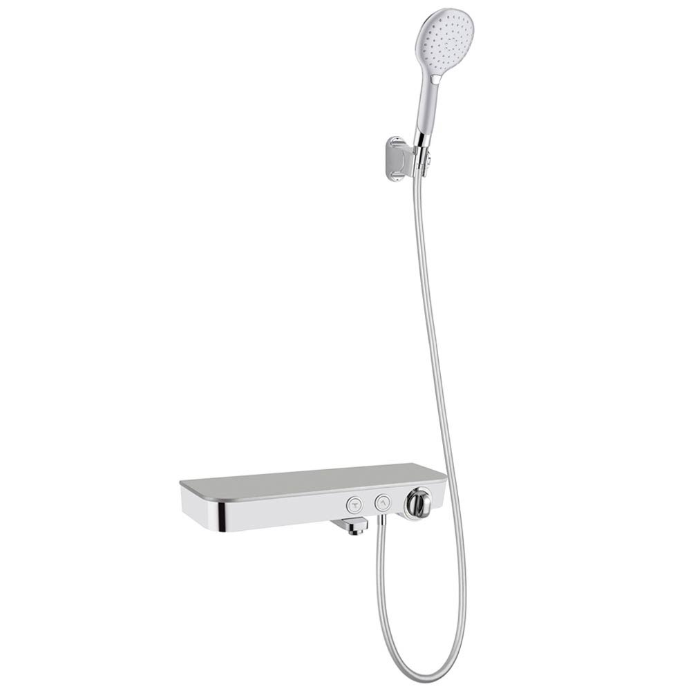Vista Modern Wall Mounted Thermostatic Bath Shower Mixer with Shelf Large Image