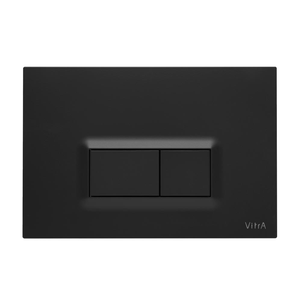 Vitra Loop R Mechanical Flush Plates for 12cm WC Frames - Matt Black profile large image view 1