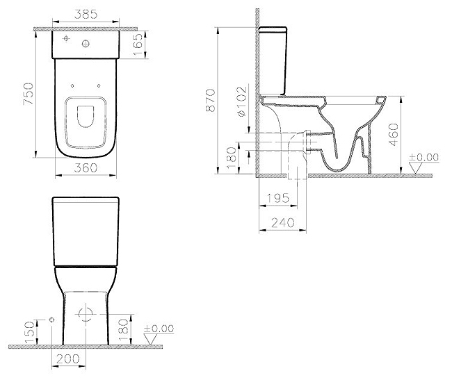 Product Dimensions. Vitra S20 Comfort Height Toilet  Open Back    Seat