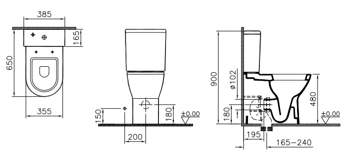 standard toilet dimensions from wall. Product Dimensions Vitra  S50 Model Comfort Height Close Coupled Toilet fully back