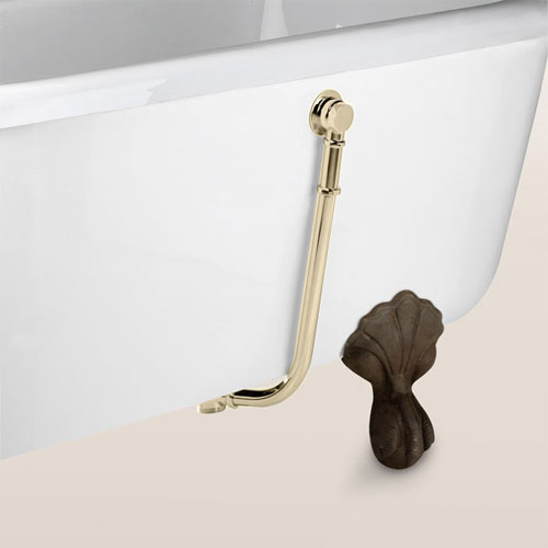 Bristan - Premium Traditional Exposed Bath Waste with Brass Plug - Gold - W-BTH12-G Large Image